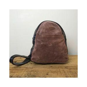 Vintage shoulder bag 90s suede brown